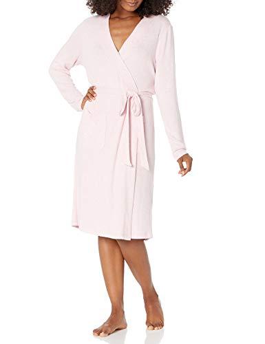 Amazon Essentials Women s Cozy Lounge Long-Sleeve Robe with Belt and Pockets, Light Blush Heather, Medium