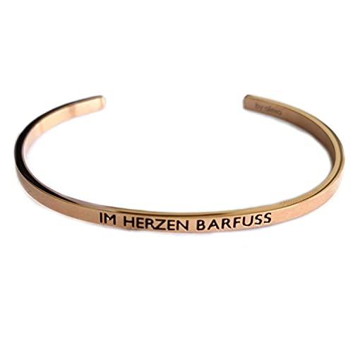 Elegante pulsera de plata o oro rosa con mantra y mensaje – Grabado en 2 tamaños en corazón descalzo,
