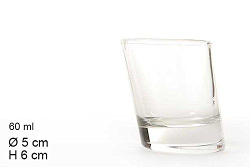 takestop® Set 6 Bicchierini CHUPITOS Pisa 60 ML Obliquo da LIQUORE CICCHETTI CICCHETTO Shot Rum Vodka in Vetro Bicchiere