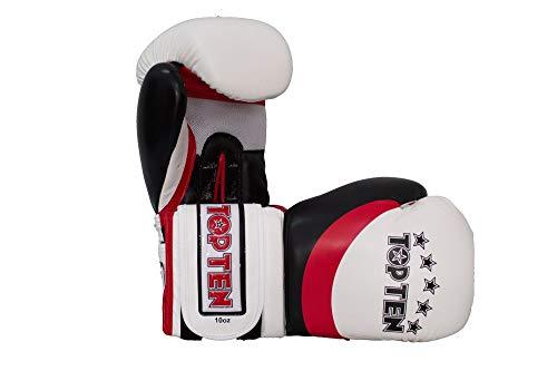 TOP Ten Boxhandschuhe, Stripe, weiß-rot Größe 10 Oz