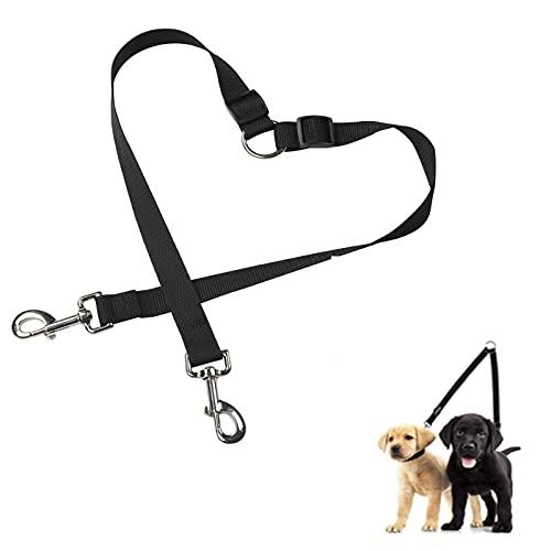 SZMYLED Doppelleine für Hunde,Hundeleinenkupplung,kein Verheddern, doppelte Hundeleine, verstellbar, für Zwei Hunde (ohne Griff, für kleine bis große Hunde), Schwarz, 50 cm