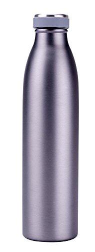 culinario Thermoflasche aus Edelstahl/Kunststoff, 0,75 Liter, doppelwandig, auslaufsicherer Deckel, trendiges Metallic-Design, in grau