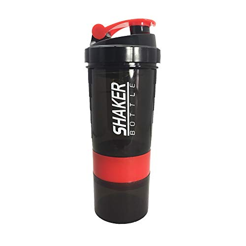 Creative Protein Poeder Shaker Fles Sport Fitness Mixen Wei Eiwit Water Fles Sport Shaker voor Gym Krachtige Lekvrije 500ml Rood