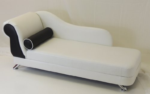 White black faux leather mini chaise longue with chrome for Black leather chaise longue
