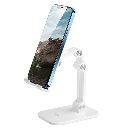 Phone Holder, Adjustable Mobile Phone Stand, Desktop Stand for Smartphone, Compatible with iPhone 12 PRO Max XS Max, Galaxy S20 S10 S9, Huawei P40 P30, Other Smartphones 4 to 11'