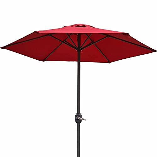 Sombrilla Terraza Parasol Jardin Sombrilla de Patio 2m, Mesa de Exterior Sunbrella con Manivela y 6 Varillas de Hierro, Sombrilla de Mercado para Piscina, Playa, Jardín, Restaurante (Color : Red)