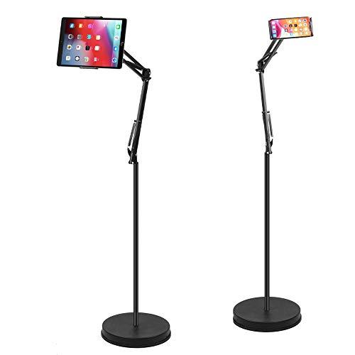 unho Soporte Tablet Cama, Soporte de Suelo para Teléfonos de 4.5-10.5 Pulgadas, Pie para Tablet de Metal, Giratorio de 360° y Altura Ajustable de 77-140cm