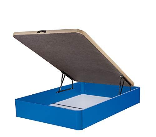 DHOME Pack Canape abatible tapizado 3D Madera + Colchón viscografeno, Reversible mas Almohada viscoelastica (90x180 Azul, 22mm + Colchón + Almohada Viscoelástica)