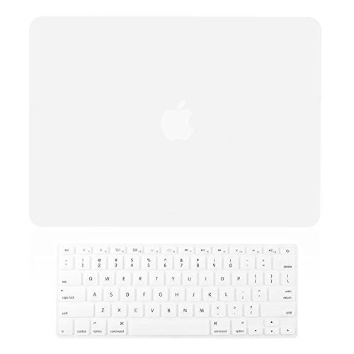 TOP CASE - 2 in 1 Signature Bundle Rubberized Hard Case and Keyboard Cover Compatible MacBook Pro 15' with Retina Display (Release 2012-2015) Model: A1398 - Satin White
