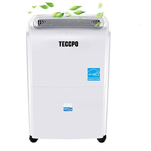 TECCPO 50 Pint Dehumidifier, 2500 Sq.Ft Energy Star Dehumidifier with Wheels, Quietly Remove Moisture Medium, Perfect for Basement, RV, Garage, Closet, 1.00 Gallon/3.8 L Water Tank Capacity, White