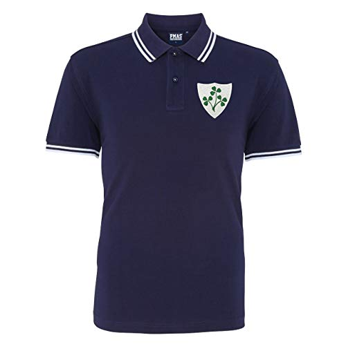 Herren Vintage Bestickt Irish Crest Irish Rugby Polo Shirt von Print Me A Shirt in Marine/Weiß Gr. Large, Marineblau/weiß