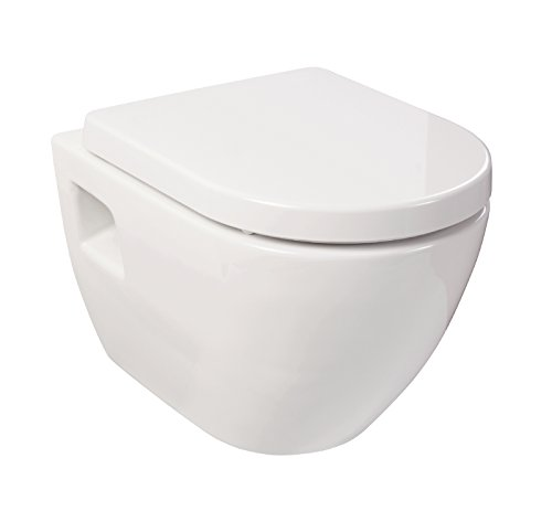 Wand-WC-Set Style | Weiß | Inklusive WC-Sitz mit Soft-Close-Absenkautomatik | Tiefspüler