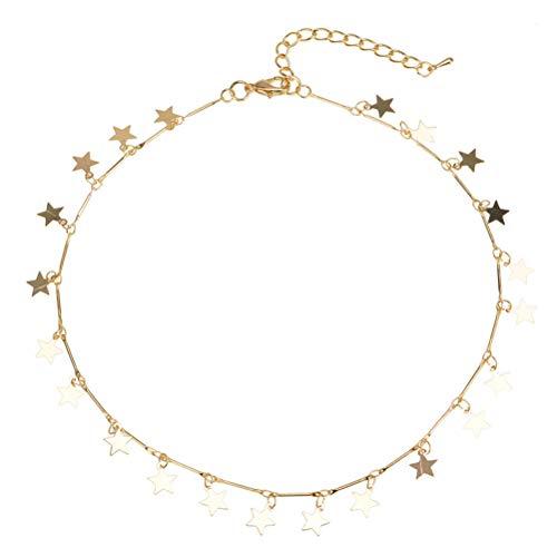 FENICAL Collar de gargantilla de mujer Collar de estrella afortunada Cadena de disco colgante de cadena de plata (dorado)