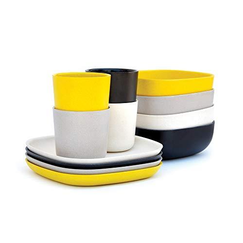 EKOBO Gusto Frühstücks-Set, 12-teilig, aus Bambus / Melamin, FSC-zertifiziert, BPA-frei, spülmaschinengeeignet