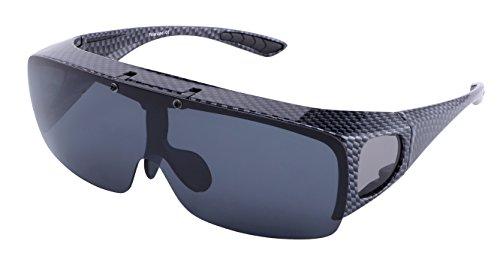 Br'Guras オーバーグラス 偏光 スポーツサングラス メンズ レディース 跳ね上げ式 運転ゴーグル UV400 紫外線カット 偏光サングラス 釣り メガネの上から 自転車、ランニング、ゴルフ、野球、登山に対応可能 (黒)