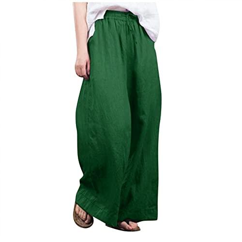 Esque Pantalones De Lino AlgodóN para Mujer/Sueltos Pierna Ancha Color SóLido/Casuales/Primavera Y OtoñO/Oficina/Deportivos/Sueltas SóLido Casual La Moda/Verde/M