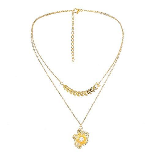 ZYYXB Collar corto de perlas collar de moda de cristal largo collar de plata pequeños collares de cuentas corto playa gargantilla cadena de ropa suéter cadena