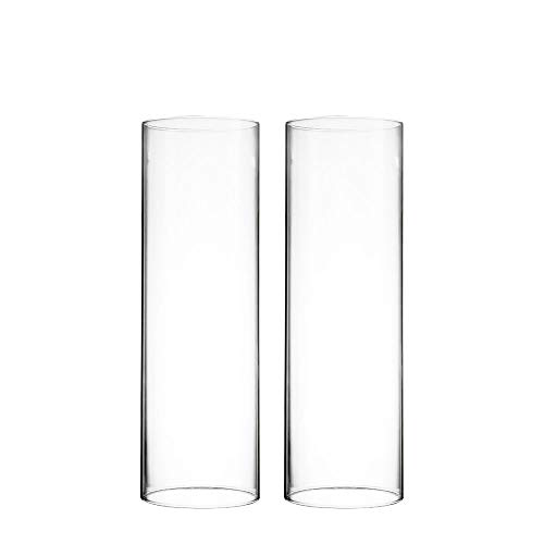 """CYS EXCEL Various Size Hurricane Candleholders, Chimney Tube, Glass Cylinder Open Both Ends, Open Ended Hurricane, Candle Shade, Glass Shade Candleholders Set of 2 (3"""" Wide x 9.75"""" Tall)"""