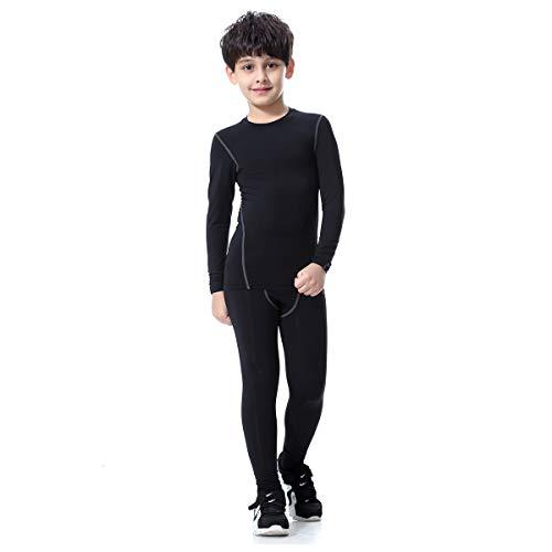 Bwiv Conjunto Térmico para Niños Camiseta Térmica de Manga Larga Pantalones Térmicos para Niños Ropa Interior Niña Esquí Elástico Secado Rápido Negro y Gris Talla L (140) cm
