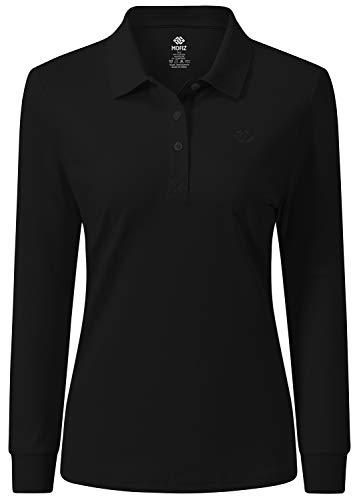 AjezMax Damen Golf Poloshirt Langarmshirt Baumwolle Polohemd Leicht Sport Top mit Polokragen X-Large Schwarz