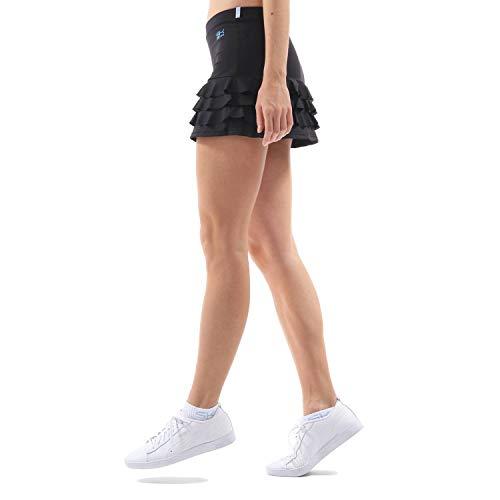 Sportkind Mädchen & Damen Tennis, Hockey, Golf Rüschenrock mit Innenhose, Skort, schwarz, Gr. 110