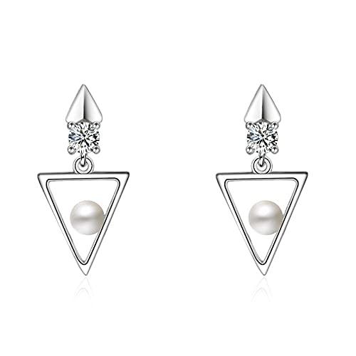 LIUBAOBEI Pendientes De Mujer Aro,Joyería De Oreja Triangular con Pendiente De Perla De Moda