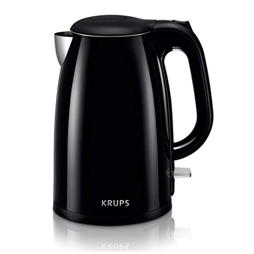 KRUPS BW260850 Cool-touch Stainless Steel Double Wall Electric Kettle, 1.5L, 1.5 L, Black