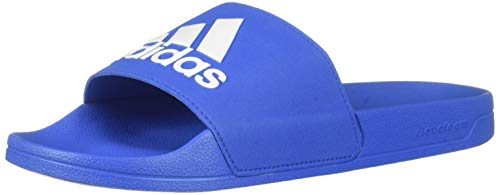 adidas Men's Adilette Shower Slides Sandal, Blue/White, 10