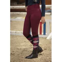 EQUITHEME - Pantalón Pull-on Lyly fondo de silicona para mujer, color burdeos, talla francesa 38