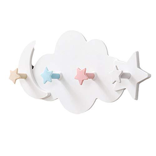 Perchero de pared para habitación infantil, 4 ganchos, diseño de estrellas