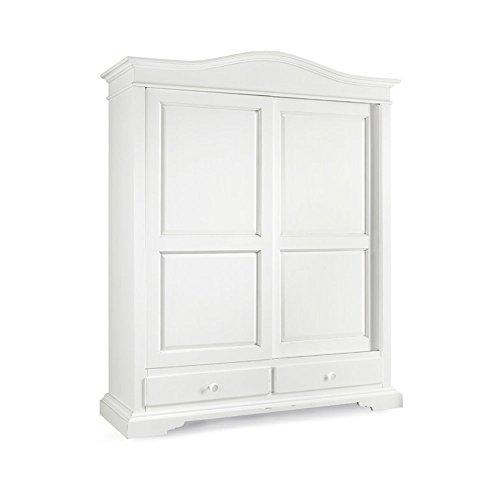 Armoire avec 2 Portes coulissante et 2 tiroirs, Style Classique, en Bois Massif et MDF avec Finition Blanc Mat - Dim. 180 x 67 x 225
