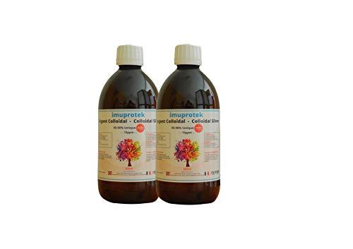 Argent Colloïdal 500ml x 2 (95/98% IONIQUE) qualité premium. 15ppm. 99.99% d'argent pure. Bouteilles en verre brun, fabriqué en France