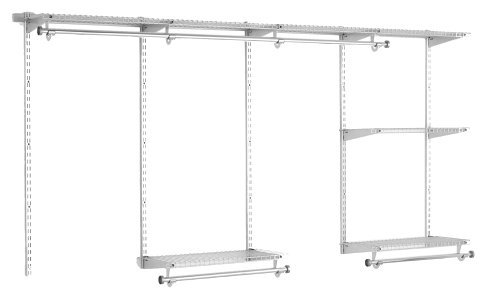 Rubbermaid Configurations Classic Closet Kit, Titanium, 4-8 Ft., Wire Shelving Kit with Expandable Shelving and Telescoping Rods, Custom Closet Organization System, Easy Installation