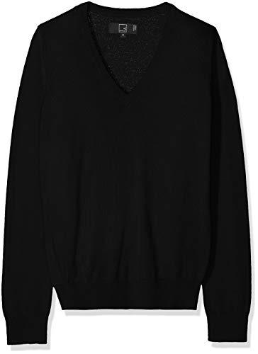 Amazon-Marke: MERAKI Merino Pullover Damen mit V-Ausschnitt, Schwarz (Black), 38, Label: M
