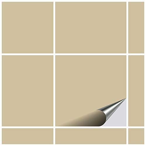 FoLIESEN Fliesenaufkleber für Bad und Küche - 15x15 cm - beige matt - 20 Fliesensticker für Wandfliesen