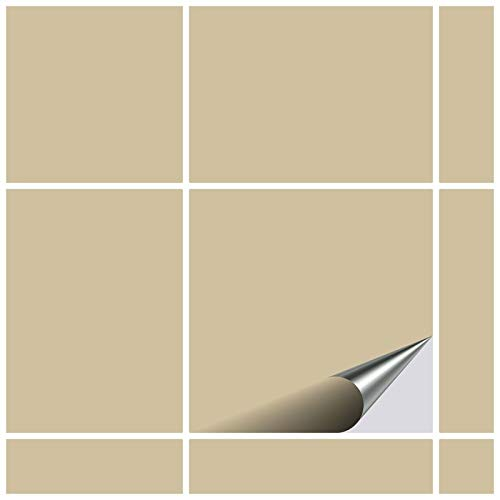 FoLIESEN Fliesenaufkleber 15x15 cm - Fliesen-Folie Bad - Klebefolie Küche - 20 Klebefliesen, Beige matt