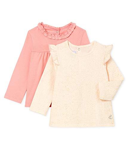 Petit Bateau Baby-Mädchen Tee Shirt ML_5018100 Langarmshirt, Mehrfarbig (Variante 1 00), 80 (Herstellergröße: 12M/74cm) (2er Pack)