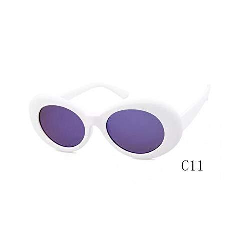 YIERJIU Sonnenbrillen Heißer Vintage Retro Sonnenbrille Frauen Weiß Schwarz Brillen Goggle Kurt Cobain Gläser Oval Sonnenbrille Damen Trendy Uv,D