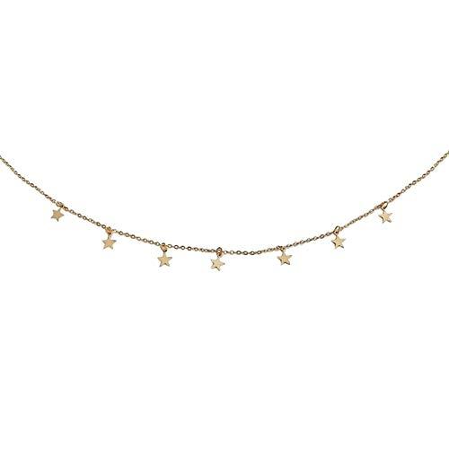 Collana girocollo da donna con ciondoli a forma di stelle, in lega, colore argento e Senza metallo, colore: dorato, cod. 49940-Homeofying