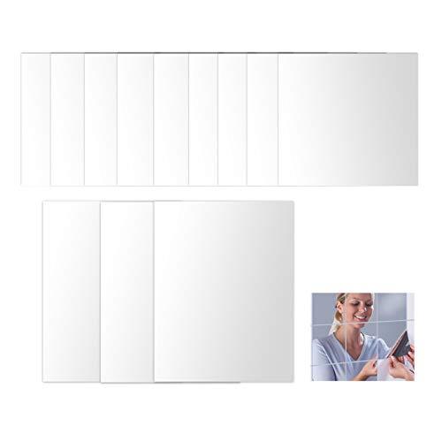 12 Stück Spiegelfliesen Selbstklebend Spiegelblätter Flexibler Wandspiegel Selbstklebende Fliesen Spiegel Wandaufkleber Kristallspiegel Badspiegel für Schlafzimmer 9*6 Zoll+3*9 Zoll 1mm Dick