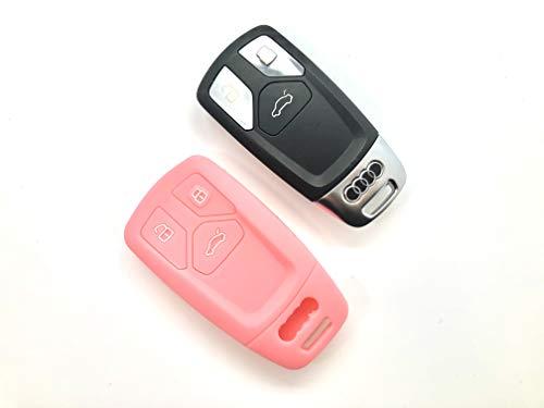 Coque en silicone pour clé de voiture télécommandée à 3 boutons - Pour Audi - Rose