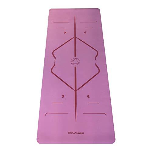 THECLASSyoga, Esterilla Mat Yoga de Caucho Ecológico, con superficie súper adherente y con sistema de alineación para ayudarte en tu práctica a conseguir las mejores posturas.(ROSA)