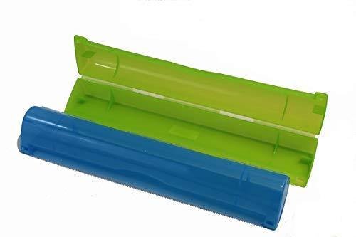 Gluecksshop Folienabroller für Aluminiumrollen und Frischhaltefolie mit Abreißkante (blau)
