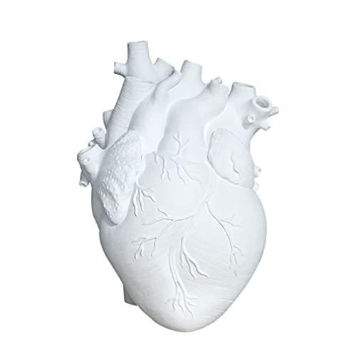 M/S Jarrones de cerámica de corazón Blanco Decoración del hogar Florero de Maceta de Plantas 13 * 17 * 9 cm Blanco 13 * 17 * 9 cm