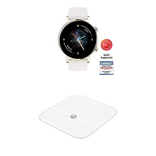 HUAWEI Watch GT 2 Smartwatch (42 mm Full-Color-AMOLED Touchscreen, SpO2-Monitoring, Herzfrequenzmessung) Frosty White [Exklusiv +5 EUR Amazon Gutschein] + Körperwaage, weiß