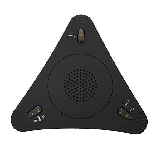 Uonlytech USB-Freisprecheinrichtung Omnidirektionales Konferenzmikrofon Tischanruf-Lautsprecher für Fernunterrichtsaufzeichnungsspiel Voice Chat Schwarz