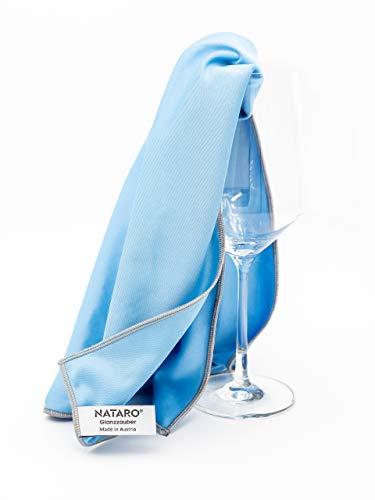 NATARO Glanzzauber Paño de microfibra para limpiar vidrio – Made in Autria – Paño de microfibra para limpiar vidrio y superficies brillantes (aprox. 48x68cm, azul), (2 unidad)