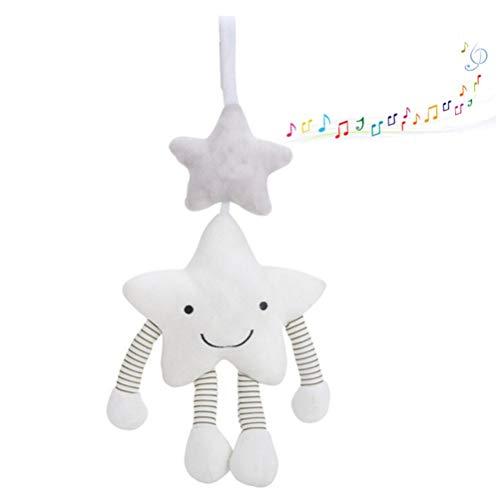 Passeggino giocattolo sospeso con sonaglio, giocattolo morbido per bambini e bambine, cinque stelle musicali, campana per passeggino, giocattolo da appendere