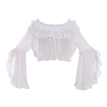 COUCOU Age Lolita Strapless Shirt Blouse Chiffon Trumpet Sleeves for Women Girls White