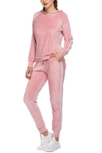 HOTOUCH Women Sweatsuits Sets Long Sleeve Hoodie Jacket and Pants Set Tracksuits Pink XXL